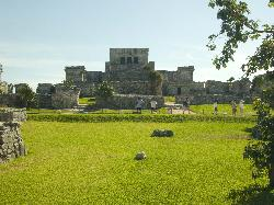 Photo of the Castle, the main building at the Mayan Ruins site in Tulum Mexico.  The interior of the building is not accessible.