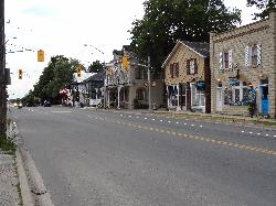 View of west side of Highway 27 in downton Thornton Ontario.