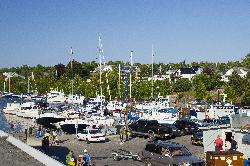 Photo of marina in Tobermory Ontario.  Taken from the balcony of restaurant.