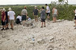 The top of the Nohoch Mul Pyramid in the Mayan Riviera in Mexico.  Skyline view can be seen from the top.