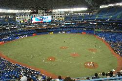Photo at 2009 Toronto Blue Jays baseball game.  Taken from the upper deck at Rogers Centre.