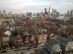 View from the fourth floor of Toronto Western Hospital, along Bathurst Street in Toronto.  Photo take by iPhone in 2013.
