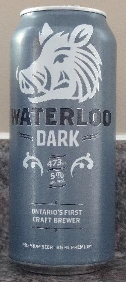 Photo of a Waterloo Dark beer can.  Waterloo Brewing is a brand of Brick Brewing Company in Kitchener Ontario.