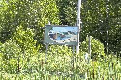 Welcome sign for Dorset Ontario, along Highway 35 heading south.