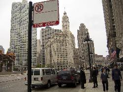 Street view of the Wrigley Building in Chicago.