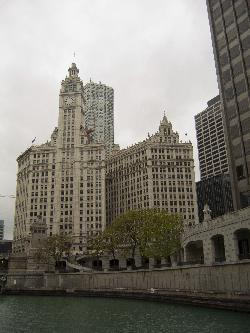 View of the Wrigley Building in Chicago from a boat tour along the Chicago River.