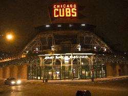 Evening photo of the rear bleachers entrance to Wrigley Field in Chicago.