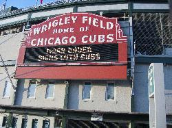 Photo of the entrance sign at Wrigley Field baseball stadium in Chicago.