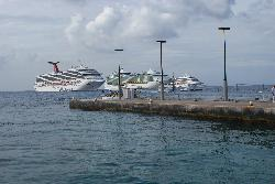 Carnival Freedom anchored at Cayman Islands