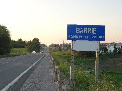 Barrie Population sign located at Highway 27 and Mapleview Avenue.  This stretch is also known as Highway 131.