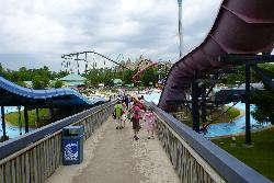 View of Splash Works and Wonder Mountain from a walkway at Canada's Wonderland.
