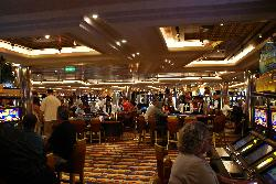A view into the casino aboard the Carnival Freedom cruise ship.