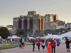 Chicago Hilton view from Taste of Chicago at Grant Park