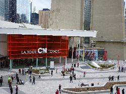 The entrance into the CN Tower in Toronto Canada.  The actual tower is to the right of the photo.