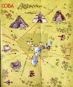 Map of the Coba Ruins in Mexico.  Taken from the Tulum and Coba tourist guide in 2006.