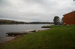 A morning view of Galeairy Lake from the Couples Resort lakefront.  Located in Whitney Ontario, just on the edge of Algonquin Park.