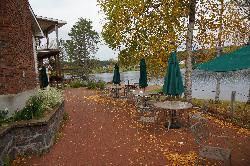 Photo of the restaurant patio and Couples Resort and Spa, near Algonquin Park.  Taken in mid-October.