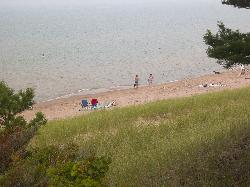 The beach where pets are encouraged.  At Pinnery Provincial Park, in Ontario.