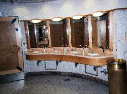 A sample restroom aboard the Royal Caribbean Explorer of the Sea cruise ship.  Scanned from a negative.