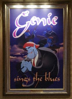 A poster of the Genie from Aladdin in a fictitious movie called Genie Sings the Blues.  Located at the entranceway of Mickey's Philharmagic show in Magic Kingdom Disney World.