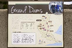 A Grand River Conservation Authority sign showing all the dams along the Grand River, in Ontario.  Includes Luther, Conestoga, Woolwich, Laurel, Shades Mills, Guelph and Belwood