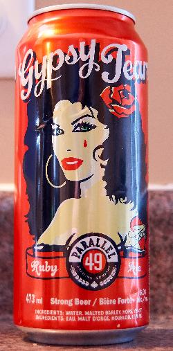 The front of a Gypsy Tears Ruby Ale beer can.  This beer is produced by Parallel 49 Brewing Company in Vancouver Canada. This beer considers itself strong at 6%.  The name of this beer has subsequently been changed to Ruby Tears.