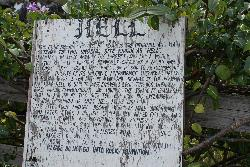This sign explains why the town of Hell on Grand Cayman was given its name.