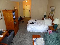 View of room at Hidden Valley Resort in Huntsville.  This room is on the second floor in the main building, facing the parking lot.