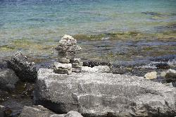 Photo of Inukshuk near the grotto at Bruce Peninsula National Park near Tobermory.
