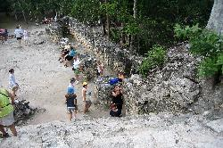 A view from the platform on the La Iglesia Temple at the Mayan Coba ruins in Mexico, in the Mayan Riviera.