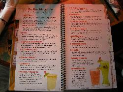 Margarita Menu at Margaritaville