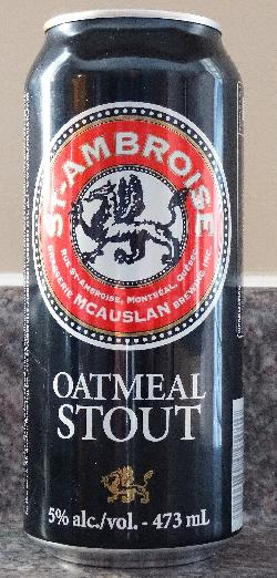 This is the front view of a beer can of St. Ambroise Oatmeal Stout.  This beer is brewed by McAuslan Brewing Inc in Montreal Canada.