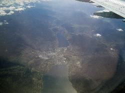 Arial view of Okanagan Lake, Skaha Lake and Penticton British Columbia from jet airplane.