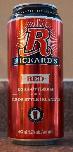 A photo of the front of a Rickard's Red beer can. Brewed by Molson's Brewery in Canada.