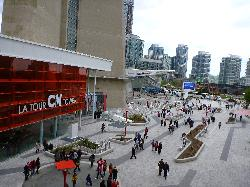 The entrances of both the CN Tower and Ripley's Aquarium of Canada.  Located near the lakeshore of Toronto Ontario Canada.