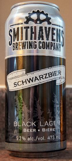 A photo of the front of a Schwarzbier beer can. Brewed by Smithavens Brewing Company of Peterborough Ontario.  Beer is described as a traditional German Black Lager with notes of coffee and chocolate on the palate. Light in body and full in flavour.