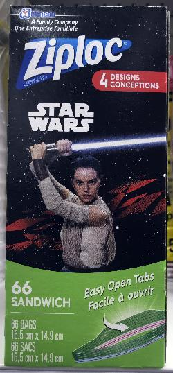 Star Wars collector series. The front of the box cover for a Ziploc snack bags.  This box has a limited edition of Rey wielding a light sabre.