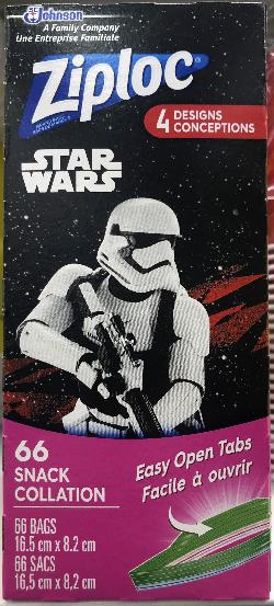 Star Wars collector series. The front of the box cover for a Ziploc snack bags.  This box has a limited edition StormTrooper.