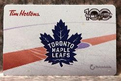 A 2017 Tim Horton's gift card.  Commemorating the NHL's and the Toronto Maple Leafs' 100 anniversary.  Depicts a Leafs logo, along with the National Hockey League's 100th anniversary logo.