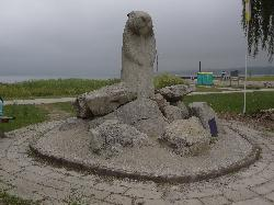 Front view of the Wiarton Willie Statue in Wiarton Ontario.  Erected in 1996 in Bluewater Park.