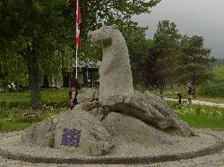 Wiarton Willie Statue in Wiarton - Side View